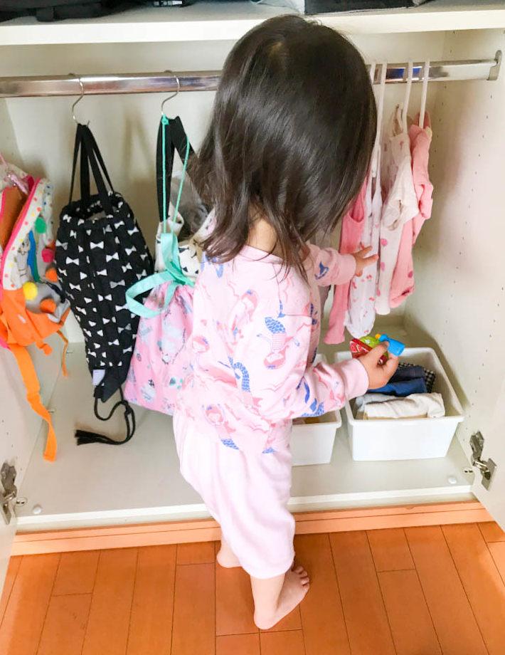 子どもの洋服収納を見直す。自分で選ぶ2歳児