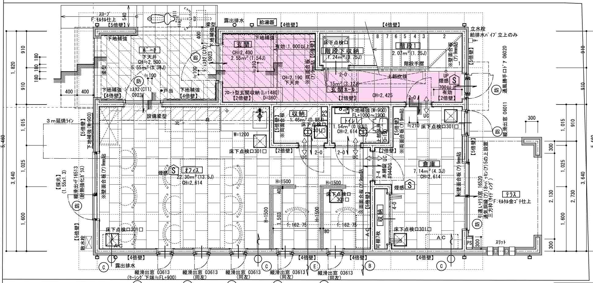 1階玄関の図面