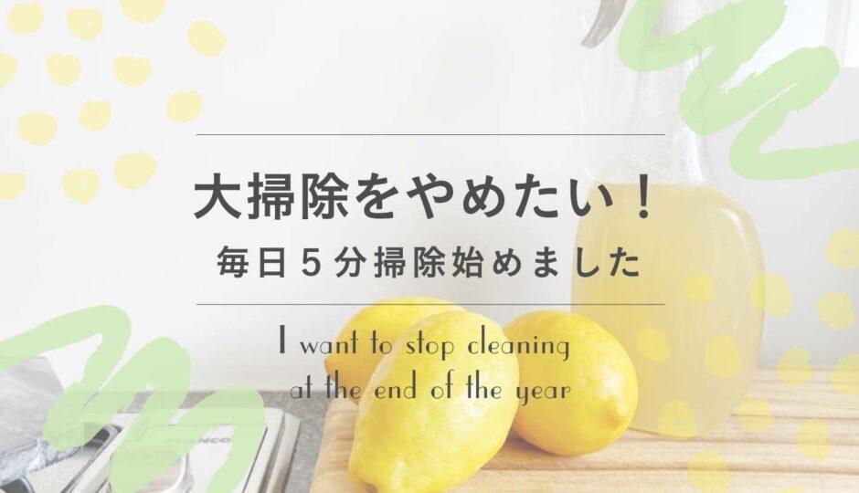 年末の大掃除をやめたい。毎日5分掃除をするメリット